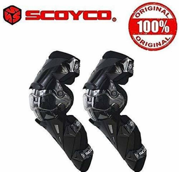 SCOYCO K12 Adjustable Knee and Shin Guards Protection Guard with Pads Flexible Breathable High-Impact Knee Pads for Motorcycle/Bike Knee Guard, Elbow Guard Free Black