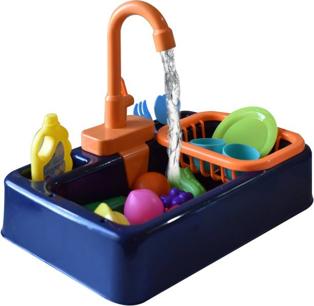 Toy Shack Pretend Play Kitchen Sink Toys with Vegetables and Fruits, Electric Dishwasher with Automatic Running Water System Wash Up Kitchen Toys for Kids Boys and Girls