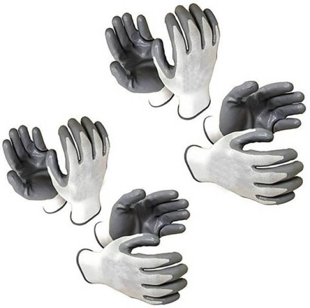 Delight White & Gray Nylon  Safety Gloves