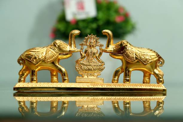 Chhariya Crafts Metal Elephant Pair With Laxmi Chandan Roli Pair Kumkum Box for Gift and Pooja Purpose Decorative Showpiece  -  7 cm