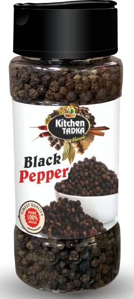KITCHEN TADKA  Black Pepper kali Mirch Whole Sabut Best for Weight Loss Easy Store Pack/Bottle 