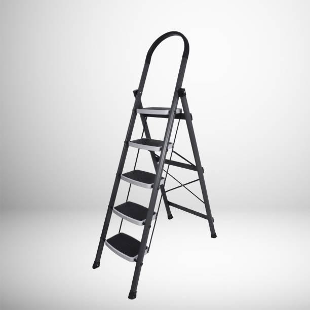 Plantex High-Grade Heavy Steel Folding 5 Step Ladder for Home - 5 Wide Anti-Skid Steps (Gray & White) Steel Ladder
