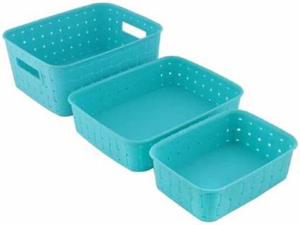 LEMETRIX Multipurpose Smart Shelf Basket Set 3 Pc Storage Basket For Fruits, Vegetables, Magazines, Cosmetics etc Storage Basket