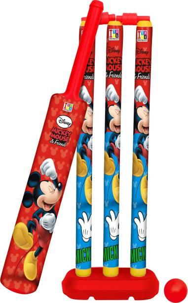 DISNEY Mickey & Friends Senior Bat, Stumps and Ball Cricket Kit