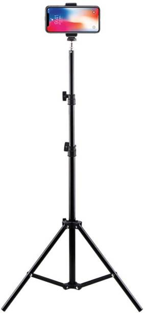 """kluzie 6.9"""" feet (210cm) Metal strong mobile phone tripod/camera stand,beauty ring fill light stand, photography umbrella ,selfie video recording [2.1 meters tripod] with mobile Holder clip Tripod Kit"""