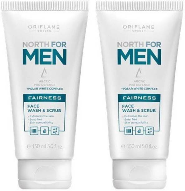 Oriflame Sweden NORTH FOR MEN - FACE WASH AND SCRUB ( PACK OF 2 ) Face Wash
