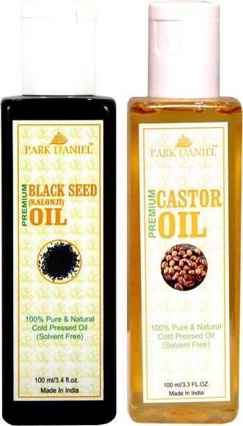 PARK DANIEL Organic Castor oil and Black seed oil(Kalonji) combo pack of 2 bottles of 100 ml(200 ml) Hair Oil