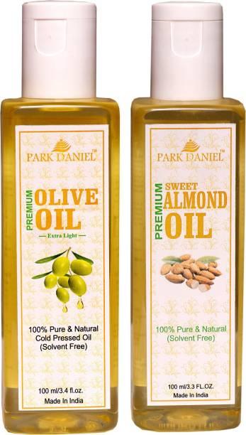 PARK DANIEL Extra Light Olive Oil and Sweet Almond oil Combo of 2 No.100 ml Bottles(200 ml) Hair Oil