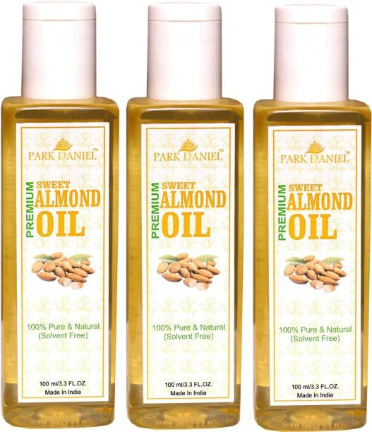 PARK DANIEL Pure and Natural Sweet Almond Oil Combo pack of 3 No.100 ml Bottles(300 ml) Hair Oil