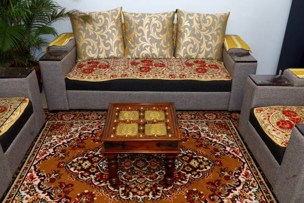 Advika Handicraft Antique Brass Mor Patda Design Sheesham(Rosewood) Solid Wood With Glass Top Table   Coffee Table   Garden and Outdoor Table  Decorative  Living Room Natural Brown Solid Wood Coffee Table
