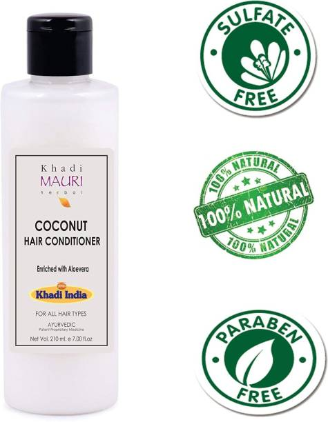 Khadi Mauri Herbal Coconut Hair Conditioner - - Natural Conditioners Used for Hair Repair and Silkiness - 210 ml - Enriched with Aloe Vera