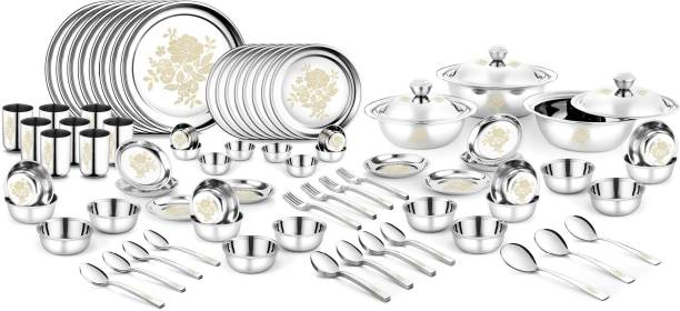 Urban Chef Pack of 102 Stainless Steel Rose Gold 102 Pcs Stainless Steel Heavy Weight Dinner set with Permanent Laser Design Dinner Set