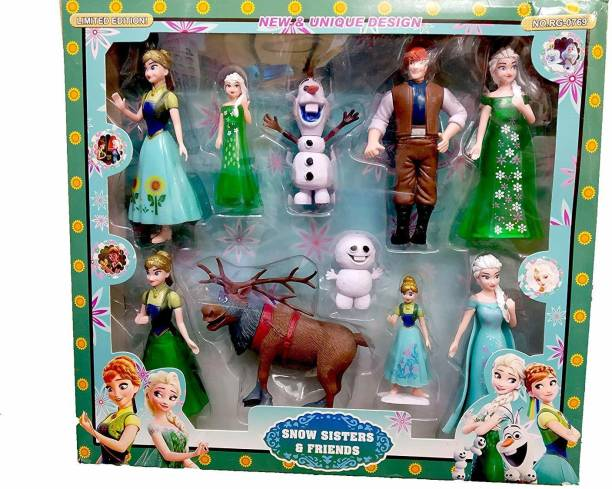 Richuzers Anna & Elsa Frozen Snow Sisters and Friends Pack of 10 Cartoon Figure Doll Set for Kids