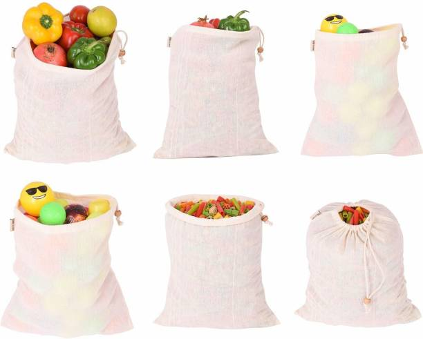 Earthy Fab vegetable storage bags for fridge Eco Friendly, Reusable, Washable. Pack of 6 (10X12 Inches)Grocery Bags (White) Pack of 6 Grocery Bags