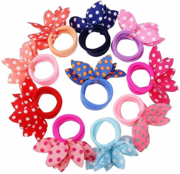 haiko Girl's Rabbit Ear Hair Tie Rubber Bands Style Ponytail Holder (Multicolour) -24 Pieces Rubber Band
