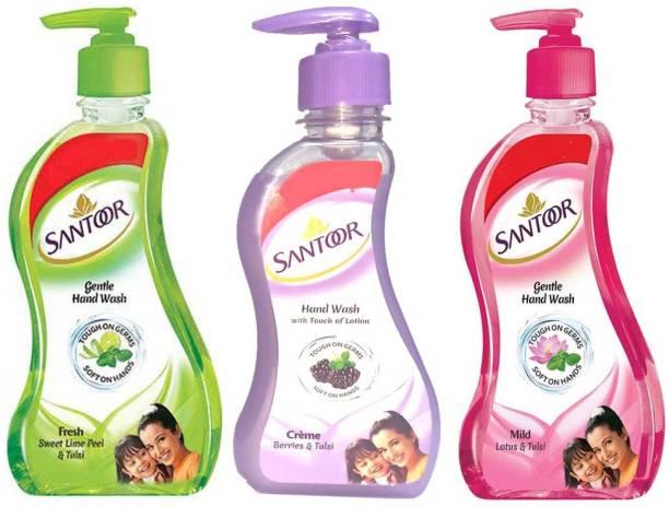 santoor HAND WASH FRESH, MILD, CREME Hand Wash Pump Dispenser