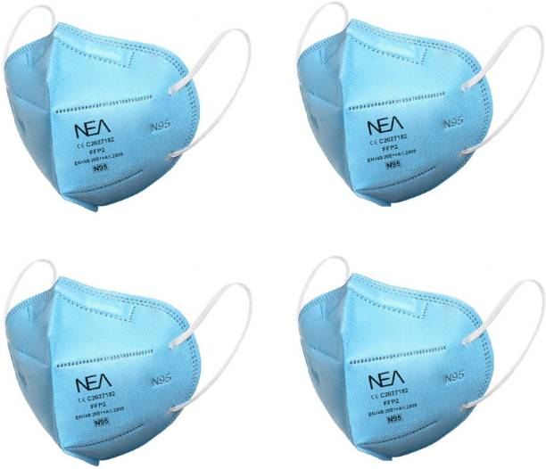 Nea N95 / KN95 FFP2 5 Layer Anti- Pollution, Anti- Virus Reusable ,Washable Protective Respiratory Face Mask Blue (4 Pcs) N95 FFP2 Blue Washable Water Resistant, Reusable, Washable