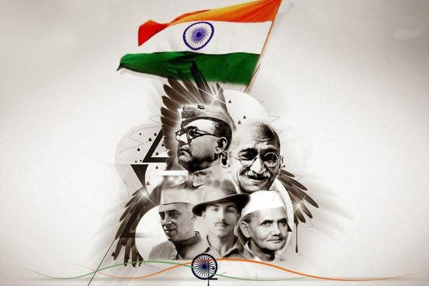 Independence Day Special Poster | Indian Personalities Wall Sticker | Atam nirbhar bharat | Wall Decor | Poster for School/Colleges/Office | Self Adhesive Wall Poster - 300 GSM(18x12)Multicolor Paper Print