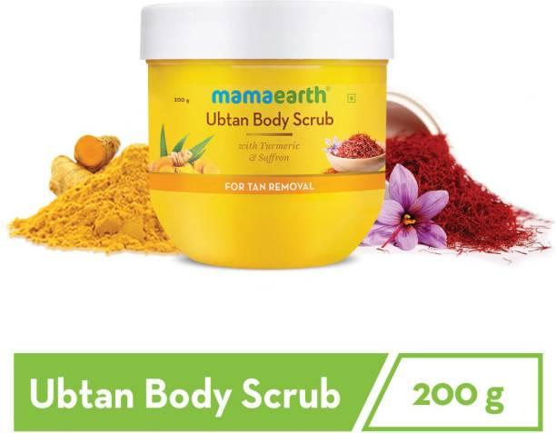 MamaEarth Ubtan Body Scrub with Turmeric & Saffron for Tan Removal – 200 ml Scrub