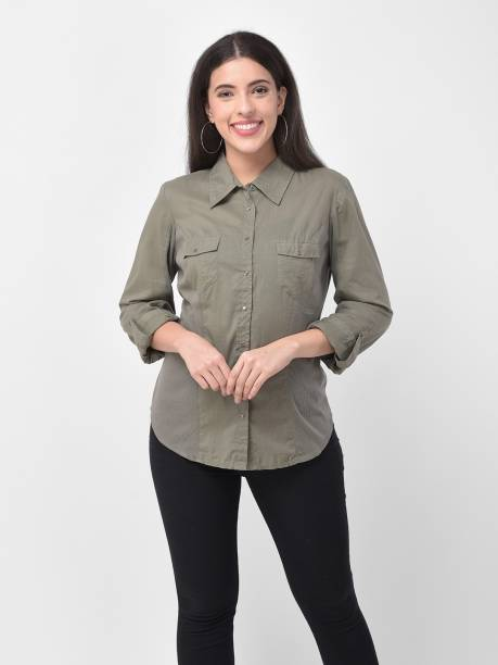 250 Designs Women Solid Casual Khaki Shirt