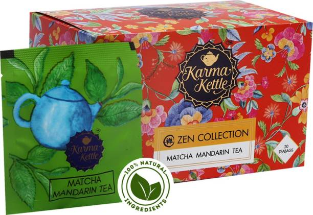 Karma Kettle Matcha Mandarin Green Tea with Indian Matcha Powder, Mandarin Orange Crystals & Orange Flavour Matcha Tea Box