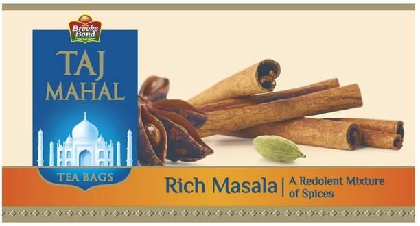Taj Mahal Rich Masala Tea Bags, 25 Pieces Spices Masala Tea Bags Box