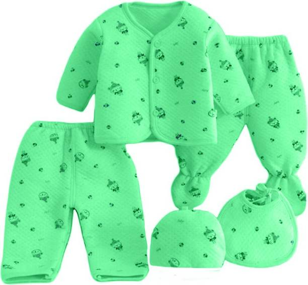PIKIPOO Presents New Born Baby Winter Wear Keep warm Cartoon Printing Baby Clothes 5Pcs Sets Cotton Baby Boys Girls Unisex Baby Fleece / Falalen Suit Infant Clothes First Gift For New Baby.Green