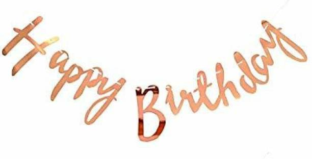 FANEX Rose Gold Cursive Happy Birthday Banner for Decoration / Happy Birthday Bunting / Birthday Decoration Item / Birthday Letter Flag - 13 Letters Banner