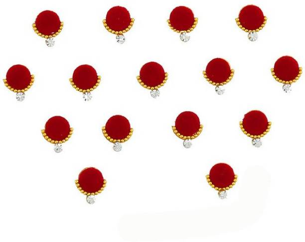 ANAM GOLD Red Colour Wonderful Fancy Bindis For Ladies Stone Designer Bindi Diamond Women Women Multicolor Bindis