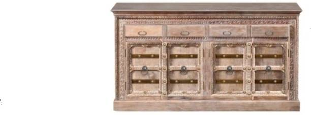 Saffron Art and Craft Solid Mango Wood Sideboard in Brown Distress Finish Solid Wood Free Standing Sideboard