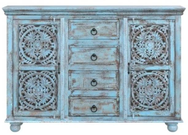 Saffron Solid Sheesham Wood Sideboard Blue Distress Finish For Living Room Solid Wood Free Standing Sideboard