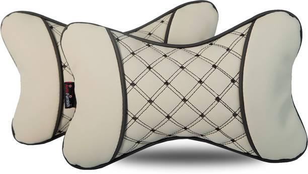 AutoFurnish Beige Leatherite Car Pillow Cushion for Universal For Car