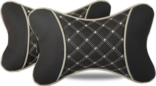 AutoFurnish Black Leatherite Car Pillow Cushion for Universal For Car