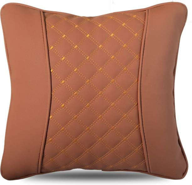 AutoFurnish Brown Leatherite Car Pillow Cushion for Universal For Car
