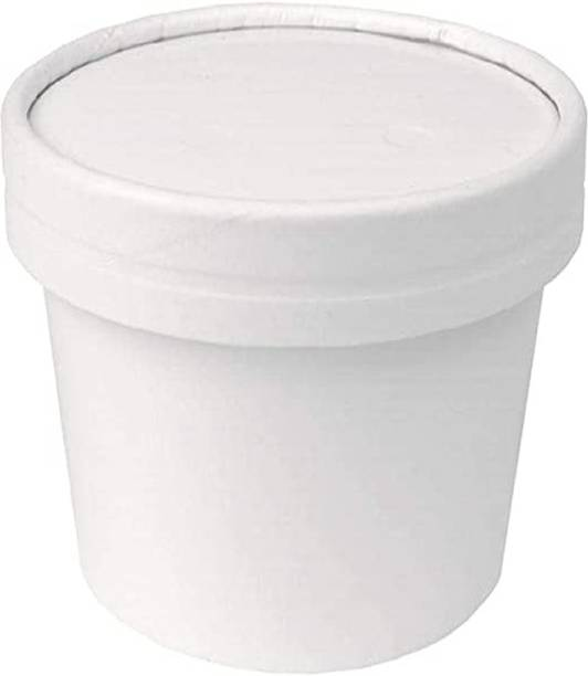 FOODLAB iNDIA 750 ML Disposable Storage, Take Away and Delivery Paper Container with Lid - 100% Bio degradable and Compostable- Pack of 100  - 750 ml Paper Utility Container