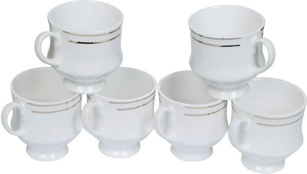 Raj Royal Pack of 1 Bone China White Ceramic Bone China Gold Line Tea & Coffee Cups Mugs Set of 6 for Home