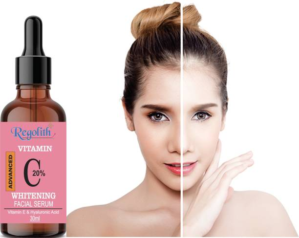 Regolith Vitamin C Skin Brightening, Anti Aging, Spotless Skin,Sun Protection, Under Eye Circles, Facial Serum with Vitamin E and Hyaluronic Acid