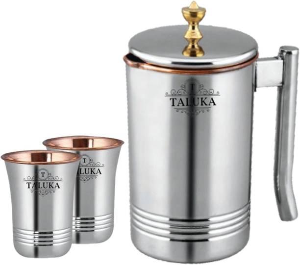 TALUKA 1.5 L Water Copper Master Steel Copper Jug Pitcher with Brass Knob & 2 Glass, Serveware & Tableware, 3 Pieces Jug Glass Set (Copper) Jug