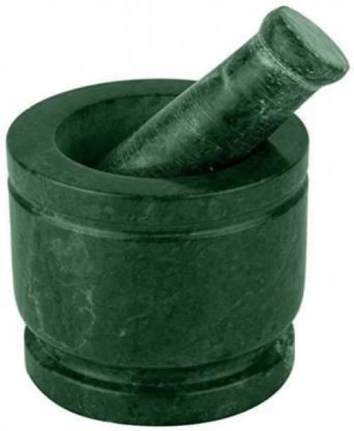 "Tanishka Creations Green Marble Mortar and Pastle / Okhli Musli / Imam Dasta / Khalbatta / Kharal / Masher - 5 "" Marble Masher"