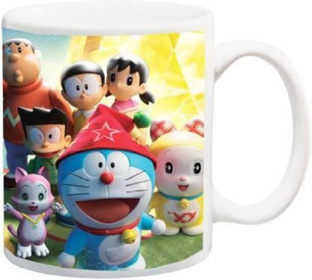 CHHAAP Doraemon Full Team HD Cartoon Printed Microwafe Safe For Kids Ceramic Coffee Mug