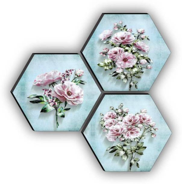 SAF SET OF 3 HEXAGON Flower Embossed 17 inch x 17 inch Painting