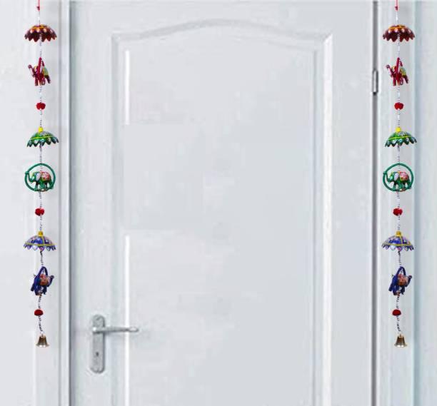 BHAGWATI HANDICRAFTS Handicraft Rajasthani Elephant Hanging Toran 2 Line Door Hanging Toran Decorative Showpiece  -  100 cm