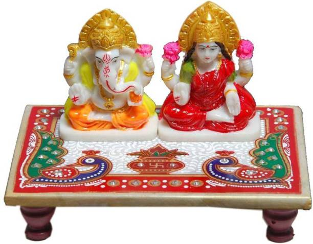 BHAGWATI HANDICRAFTS Laxmi Ganesh Ji With Marble Choki Marble Pooja Chowki (Multicolor, Pack of 1) Decorative Showpiece  -  12 cm