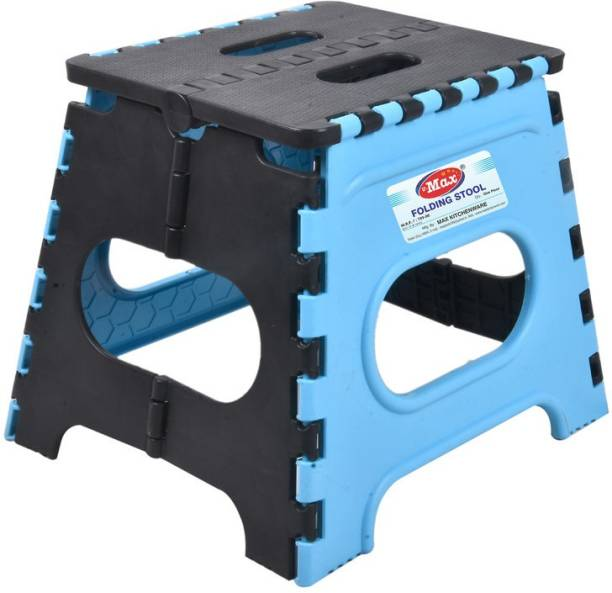 Max U-Max Folding Stool for Adults and Kids Bedroom & Kitchen Stool (skyblue & black ) Stool