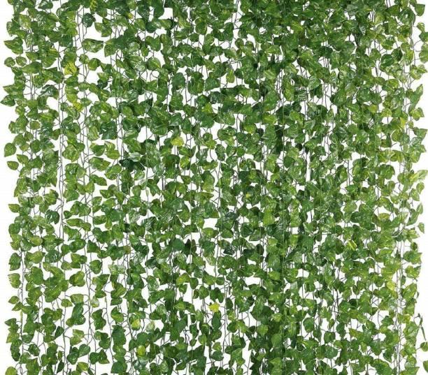 Jiyaan impex 12 Strands Artificial Silk Fake Greenery Hanging Vine Plant Leaves Jungle Theme Garland Home Garden Wall Decoration (Money) Green Wild Flower Artificial Flower