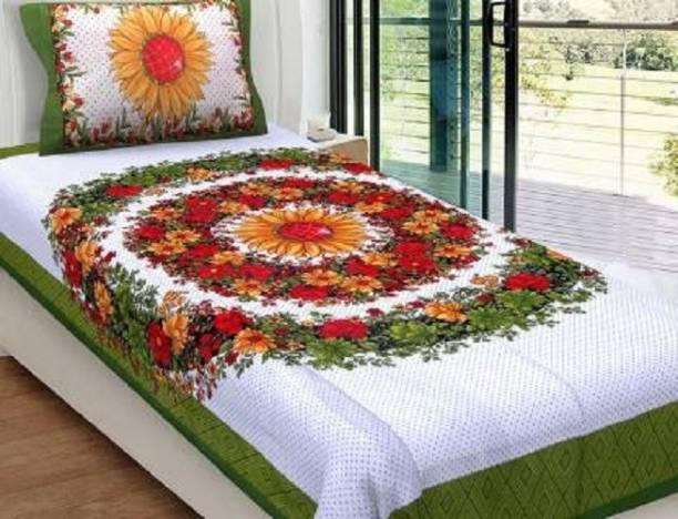 Sonal Textiles 115 TC Cotton Single Floral Bedsheet