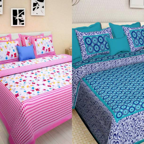 pushti enterprises 144 TC Cotton Double Printed Bedsheet