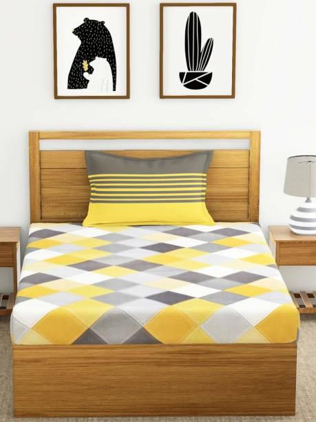 MSKS 144 TC Cotton Single Checkered Bedsheet