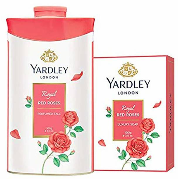 Yardley London Royal Red Roses Luxury Soap with Royal Red Roses Perfumed Talc