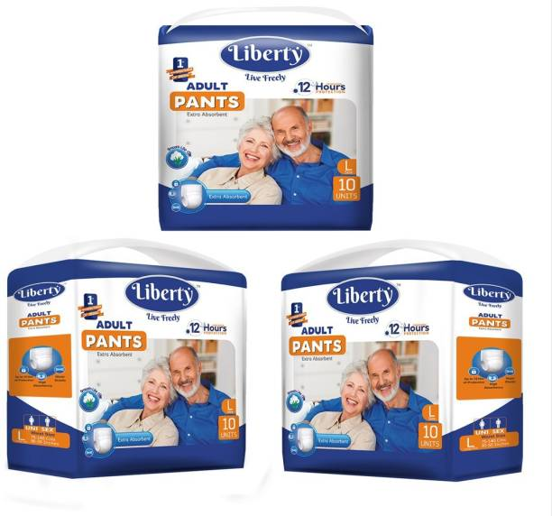 Liberty Adult Diaper Pants - Large (3 * 10 Pcs) Adult Diapers - L